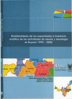 Cubierta para Establecimiento de las capacidades e inventario analítico de las actividades de ciencia y tecnología en Boyacá, 1995-2006
