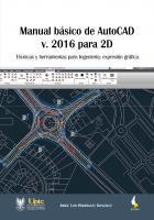 Cubierta para Manual básico de AutoCAD v. 2016 para 2D: Técnicas y herramientas para Ingeniería: expresión gráfica